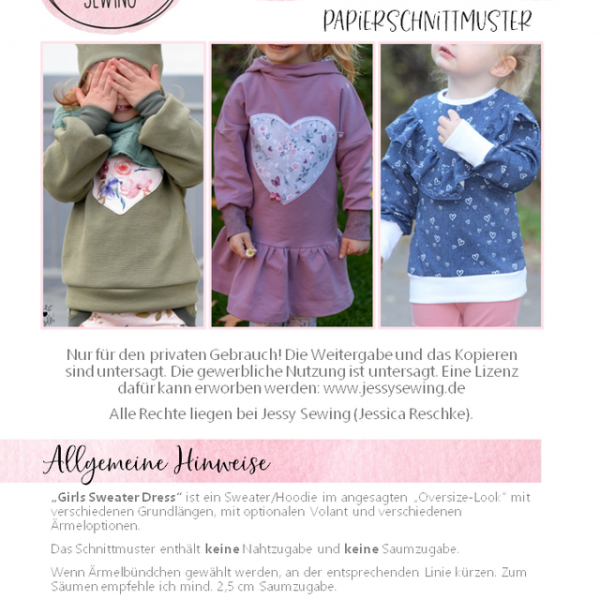 Girls Sweater Dress Papierschnittmuster