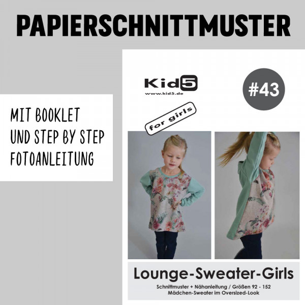 Lounge-Sweater-Girls Papierschnittmuster