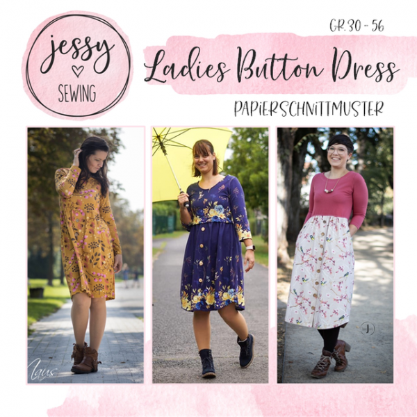 Ladies Button Dress Papierschnittmuster
