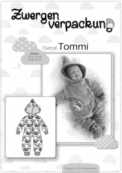 Zwergenverpackung TOMMI Overall Papierschnittmuster farbenmix