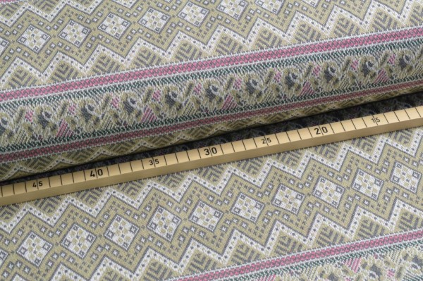 Jacquard aztec oliv recycled fabric